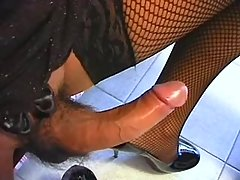 Pretty shemale in black seduces guy