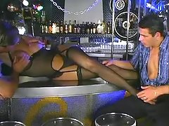 Horny barmen and shemale have oral