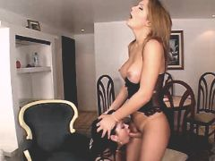 Blond beautiful tranny gets blowjob