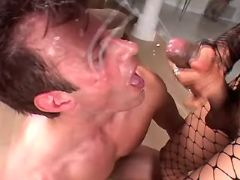 Guy gets fuck and cum by shemale